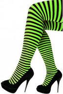 Zwart - groen gestreepte panty